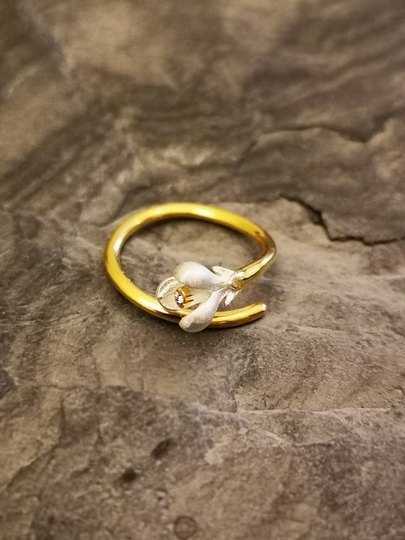 Magnolia Flower 925 sterling silver Ring with 14k gold plated, Fine jewellery, Silver and Gold jewelry, Adjustable Ring