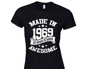 2993c012 50th Birthday Gift T-Shirt   Vintage Queen   Made In 1969   50 Years Of  Being Awesome   Ladies Tee Top