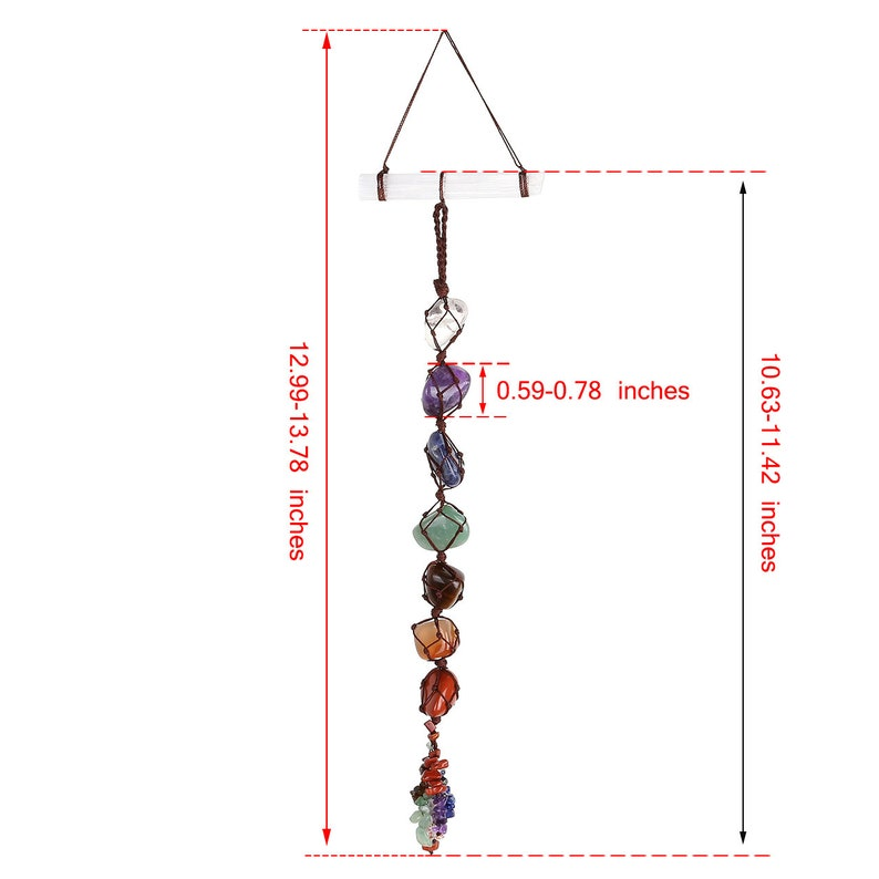 Chakra Hanging Ornament,Rear view Mirror Charms,7 Chakra Healing Crystal Wall Hanger With Selenite Stick,Feng Shui Ornament,Window Ornament