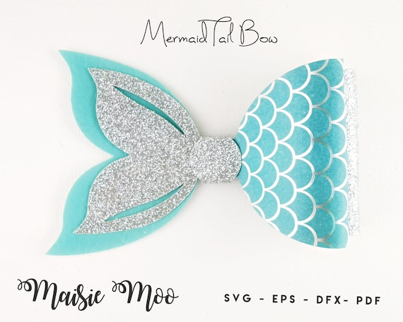 Mermaid Tail Bow Template Svg Bow Svg Felt Bow Pdf Shell Etsy