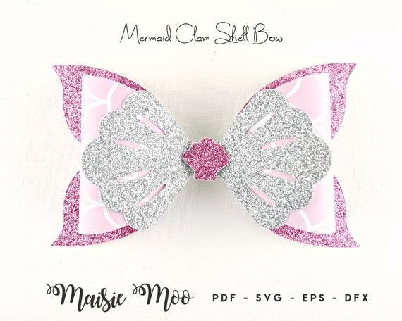 Mermaid Bow Svg Bow Template Hair Bow Svg Felt Bow Pdf Etsy