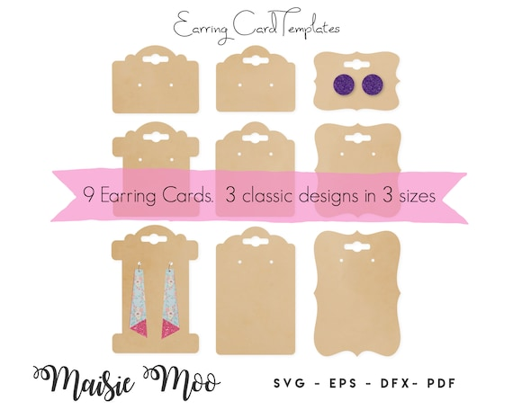 Earring Card Svg Earring Display Card Earing Card Dxf Bow Etsy