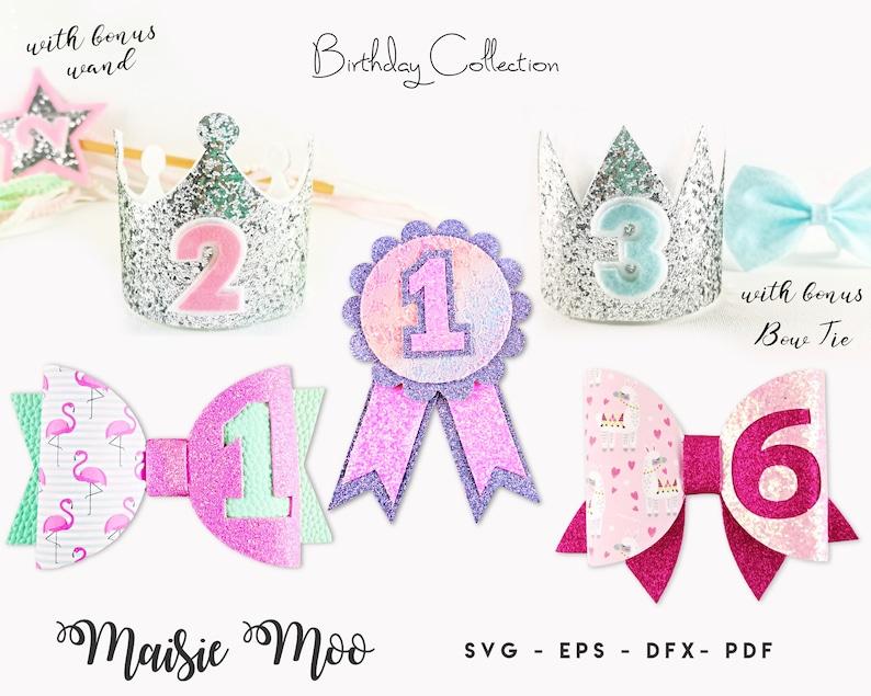 Birthday Bow SVG Birthday Crown Birthday Ribbon Wand Bow image 0