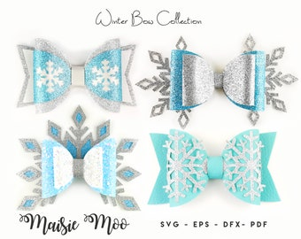 Winter Frozen Bow SVG Bundle, Bow Template SVG, Faux Leather Bow PDF, Svg files for Cricut Cut Files, Silhouette Cut Files,