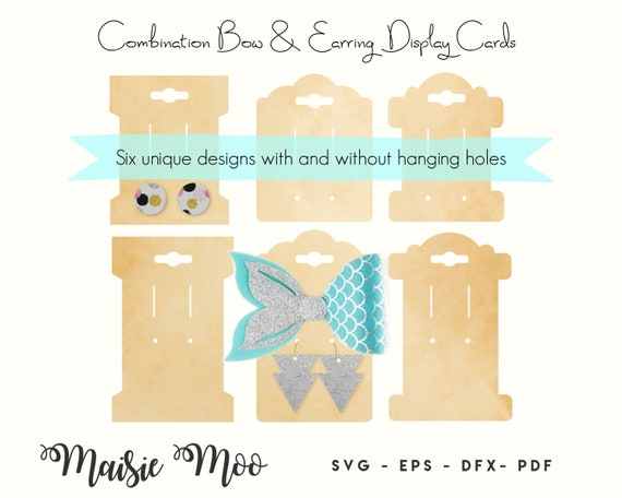Combined Bow And Earring Card Svg Bow Display Card Template Etsy