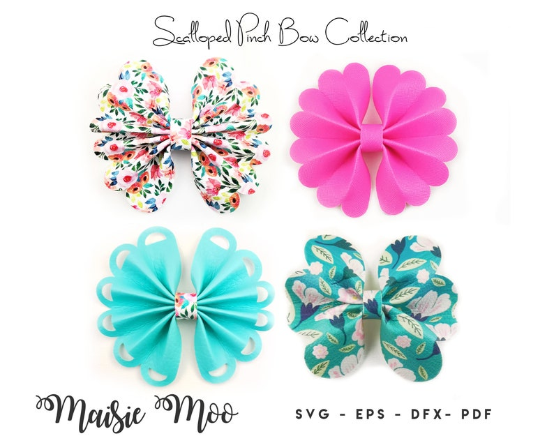 Pinch Bow Bundle  Scalloped Pinch Bow SVG   Ruffle Pinch Bow image 0