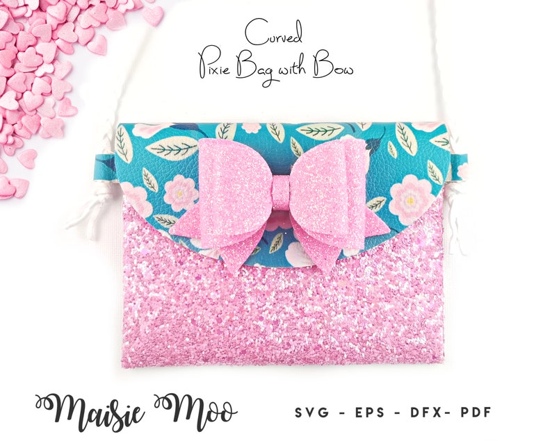 Pixie Bag with Bow SVG  Faux Leather Pouch SVG  Toddler image 0