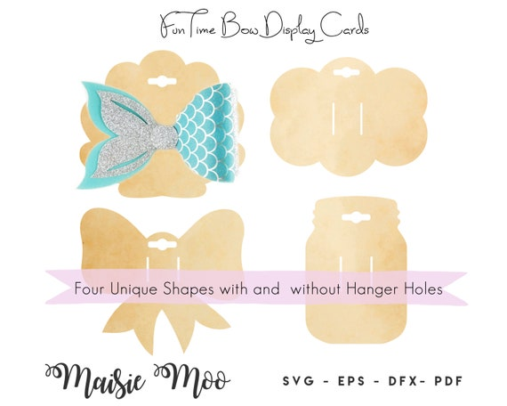 Bow Card Svg Mason Jar Bow Display Card Hair Clip Card Dxf Etsy