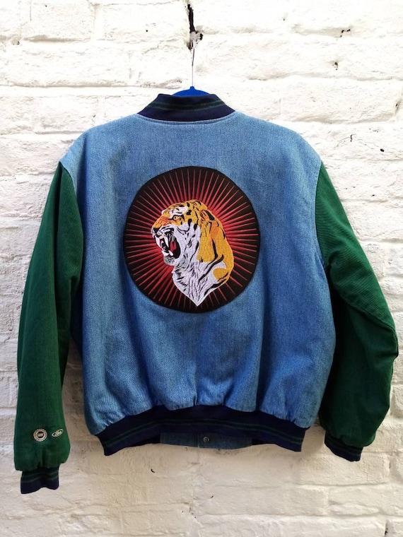 Vintage Upcycled 1990's Baseball Denim Jacket/Vtg