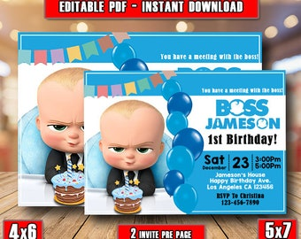 Boss Baby Birthday InvitationBoss Party Editable Instant DownloadBoss InviteBoss
