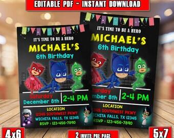 Pj Masks InvitationEditable InvitationPj Birthday PartyPj PrintablePj DisneyChalkboard