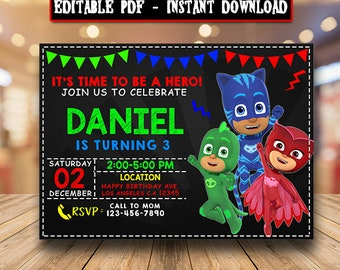 Pj Masks InvitationEditable InvitationPj Birthday PartyPj PrintablePj DisneyChalkboard