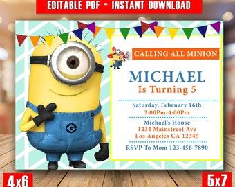 Minion Party Invite Etsy