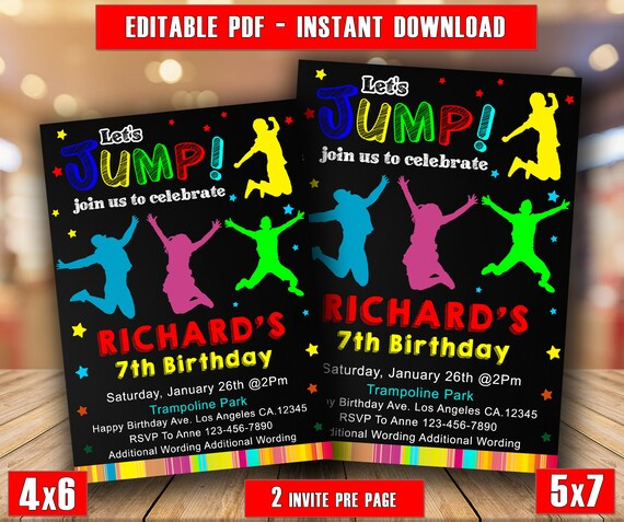 Jump InvitationJump Birthday InvitationBounce House