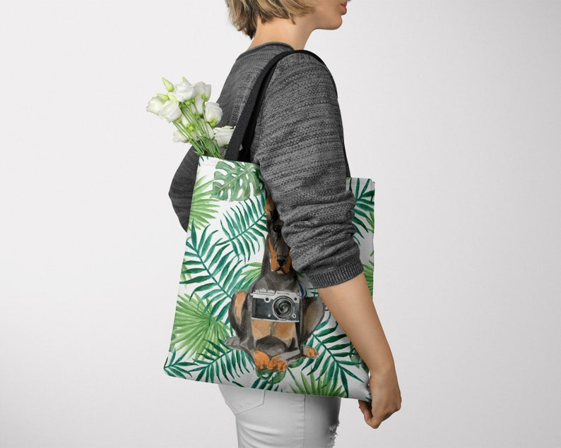 All purpose: for work life shopping Doberman dog Tote Bag Pinscher Dobie Dobynm shoulder Illustrated dogs /& 6 Travel inspired styles