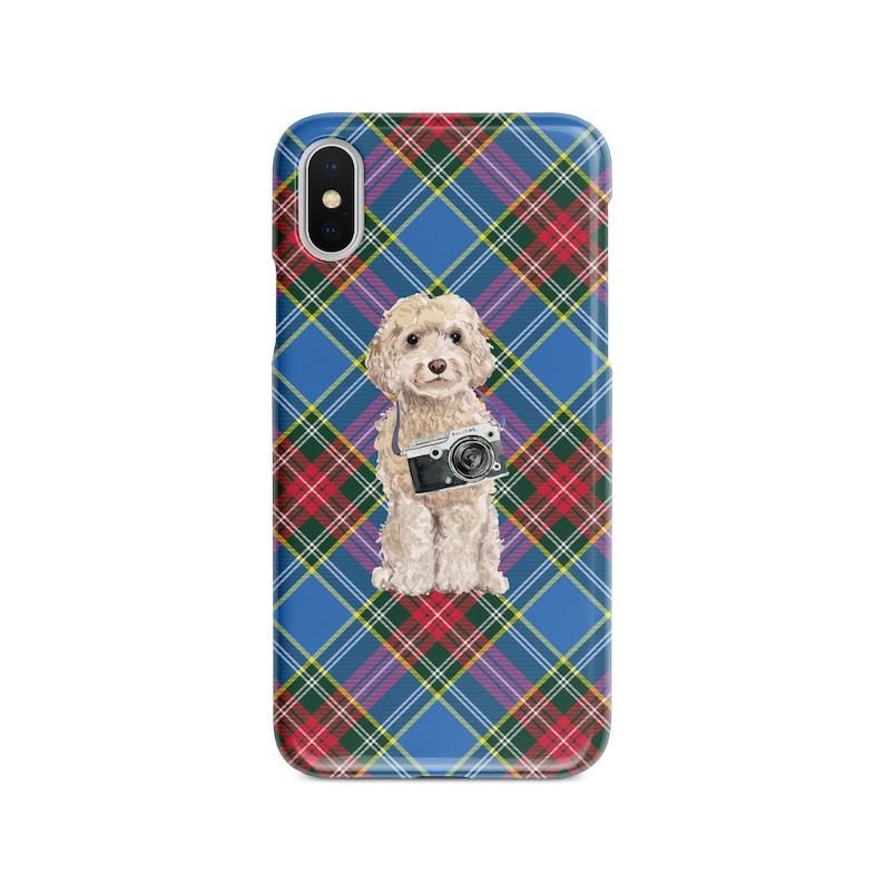 Champagne Cockapoo dog Tartan phone case XS Iphone 6 S Plus 7 Plus 11 Tartan styles 8 Plus,X Samsung Galaxy S7 /& S8