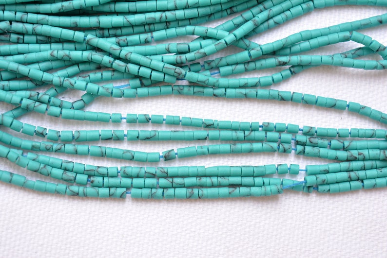 10 Strands Tiny Turquoise Beads 2.20mm Hand Cut Turquoise Beads 13 Inch Strand Plain Tube Shape #GNP0683 Afghani Turquoise Beads