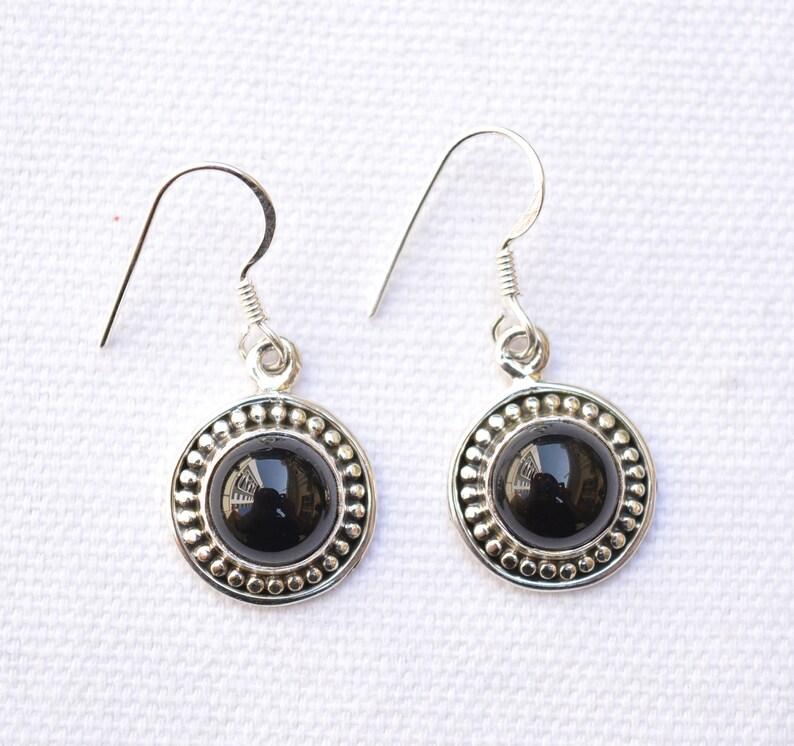 Boho Earring Black Onyx Earring Dainty Earring Round handmade Earring Statement Earring  GNER 9 925 Sterling silver Jewelry