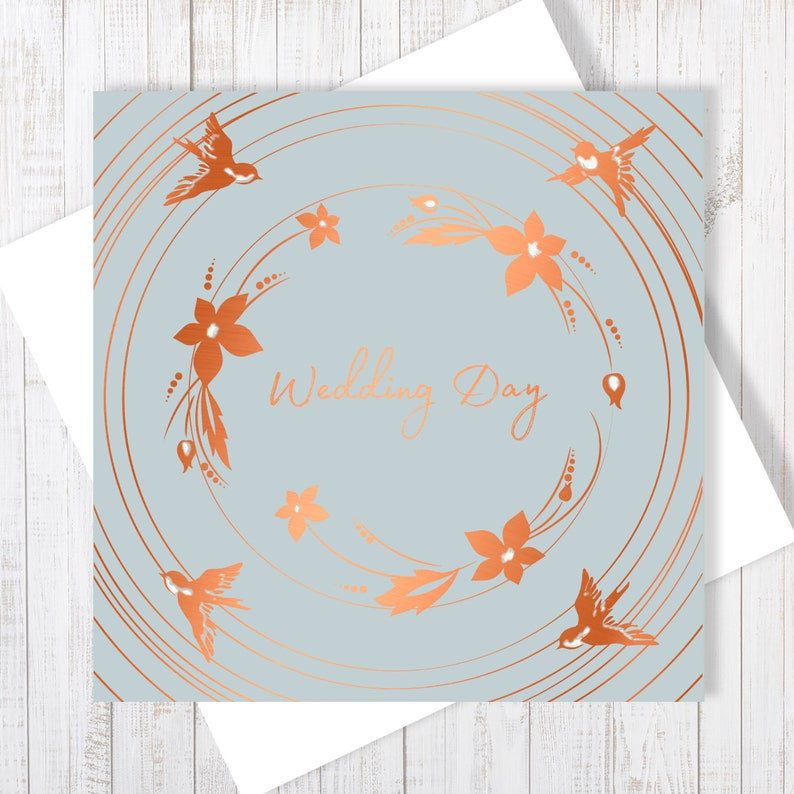 Wedding Day Card With Copper Foiling