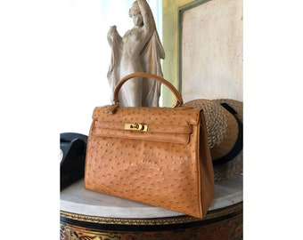ed0fed47292 Vintage.HERMES (style) Ostrich Handbag by Bianchi Nardi GAGLIANO-Firenze (  five star ostrich skin ) Made in Italy Col. Honey