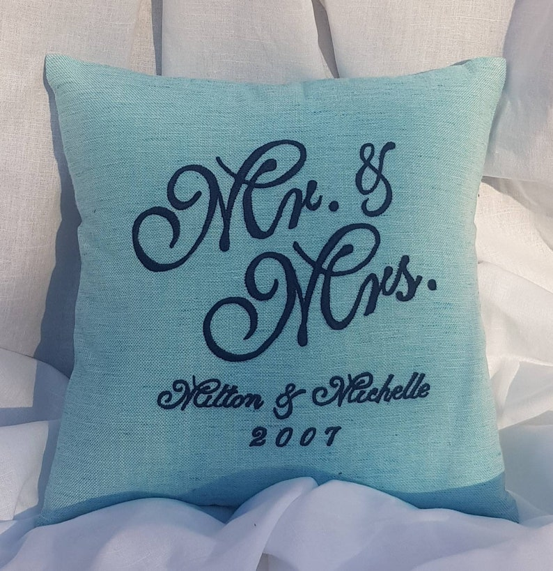 Personalized His and Hers Cushion Established Date 30/% Sale Mr and Mrs Pillow Valentine Anniversary couples Pillow, Wedding Gift