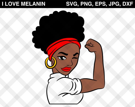 Strong Afro Girl Svg Vector Png Eps Jpg Dxf Silhouette Etsy