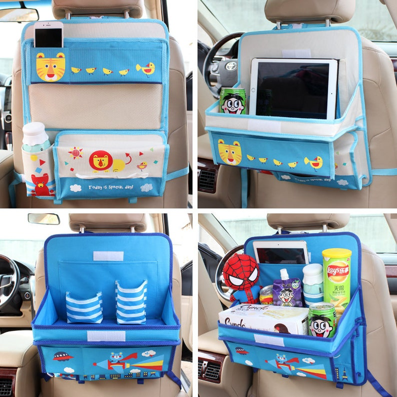 Car Seat Back Cover Mat Baby Feeding Bottle Snack Tablet Organizer Cartoon Storage Bags Multi-functional Hanging Holders Mother & Kids