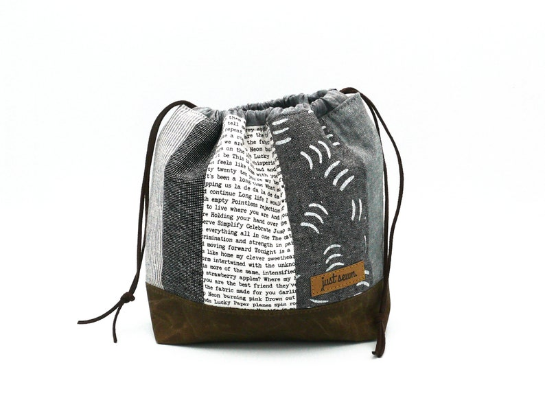 Project bag/handicraft bag Grey tones  Patchwork image 0