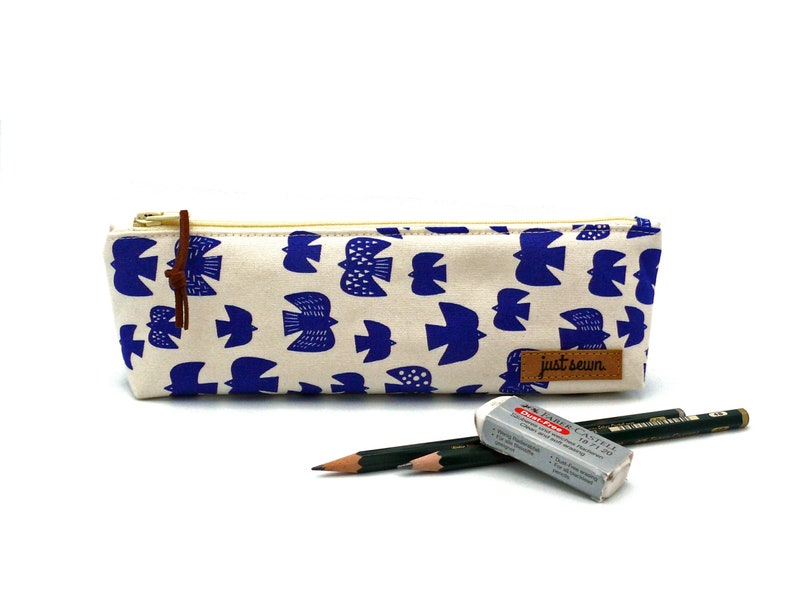 Pencil case Birds  Blue  Japanese image 0