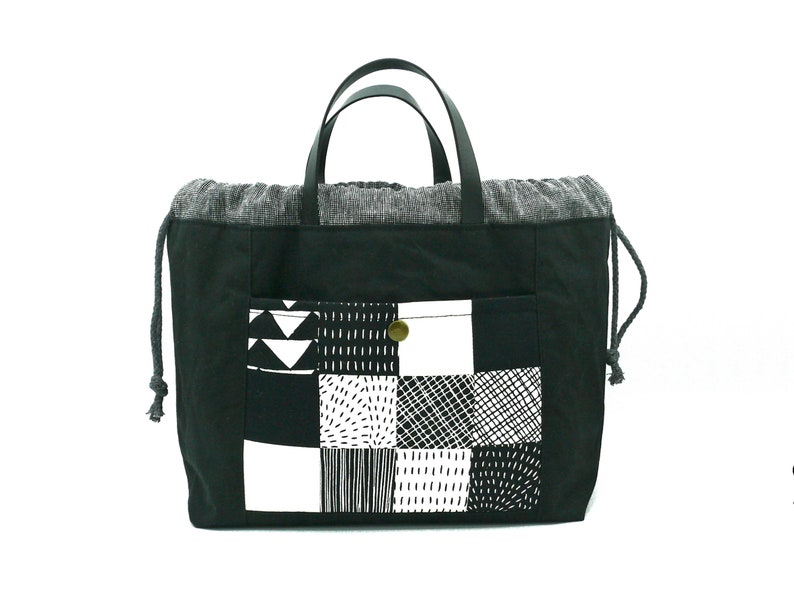 Project Bag / Handmade Bag Black & White  image 0
