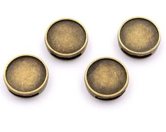 Fassungen in antik silberfarben für 15 mm Cabochons 4 Stück von Vintageparts