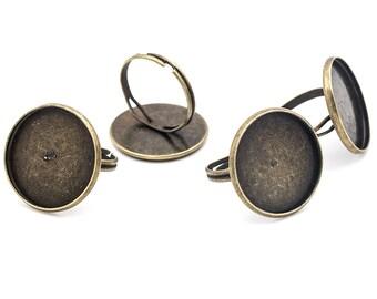 Ringrohlinge aus Messing mit zwei Fassungen in antik bronzefarben 2 Stück