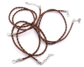 0.66 EUR/1 pcs single faux leather ribbons braided in brown 3 set