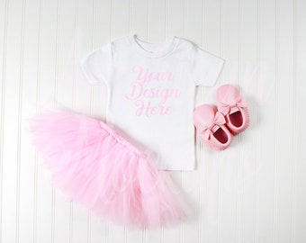 Download Free Pink tutu with 12m shirt mockup on whtie Background PSD Template