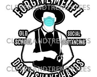 Forgive Me If I Don't Shake Hands Old School Social Distancing Funny Digital Sticker Image