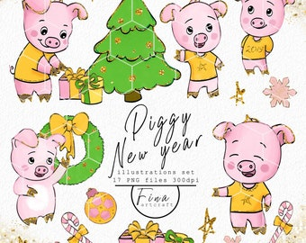 cute pig clipart new year clipart christmas clipart piggy clipart happy new year clipart hinese new year