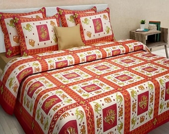JD 100% Cotton Printed King Size Double Bedsheets With 2 Pillow Covers