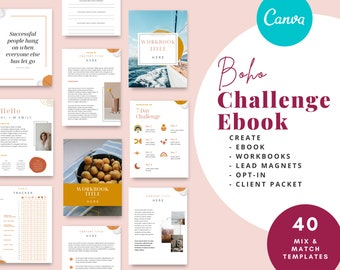ebook Template Boho Style,  can be used as a workbook or course template. Designed in Canva