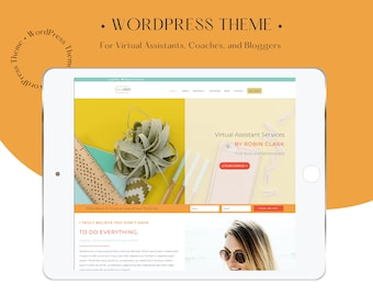 wordpress divi website for  Virtual Assistant + Coach Website, Drag and drop Builder Layout Business Entrepreneur Custom website