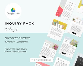 Google Slides EDITABLE Inquiry Pack For Coaches, Enquiry packet, editable printable,Business Template Form, Workflow Template, Sales Funnel