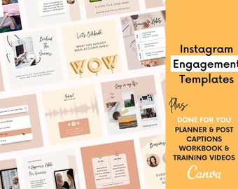 Instagram Posts for Canva | Instagram Content Planner | Coaching and Small Business Templates | Instagram Engagement |