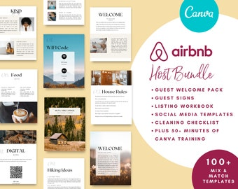 Airbnb Host Bundle includes airbnb Welcome Book, Guest Signs, Listing Workbook, Cleaning Checklist and Social Media Posts. Canva Templates