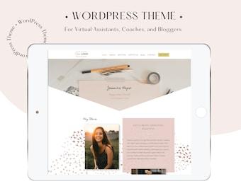 Website Template for Virtual Assistant + Coach Website  Custom design, Feminine Divi Theme,  Premium WordPress Theme