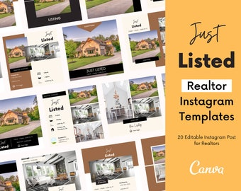 Editable Instagram Posts for Realtors   Real Estate Marketing   Real Estate Branding   Real Estate Instagram   Realtor Marketing Templates