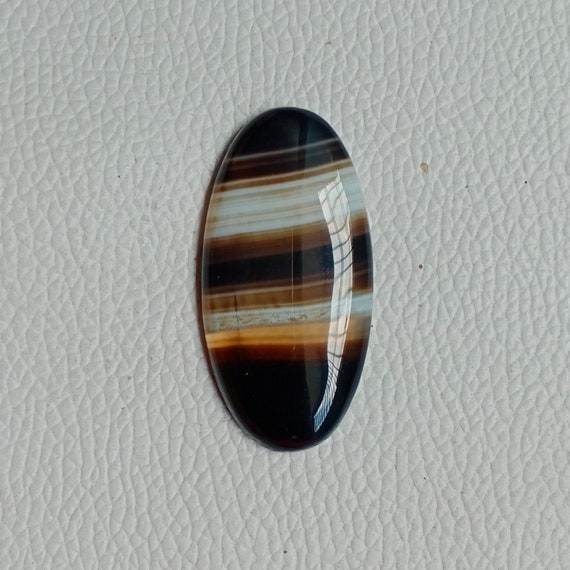 Top Royal Natural Black Banded Agate Cabochon Amazing Black Banded Agate Gemstone Handcraft Loose Stone For Jewelry 61 Ct 47X28 mm #7045