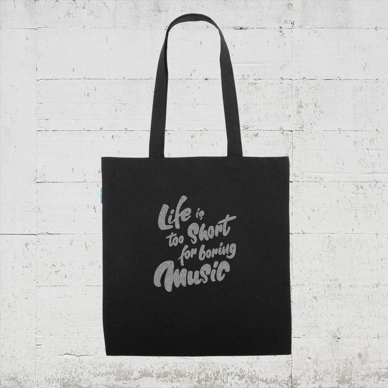 HLP life is too short for boring music Very casual organic cotton shopping bag from Hamburg LaPlaya