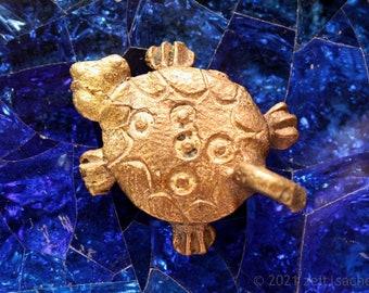 Pendant African Turtle Symbol for Wisdom Earth Fertility Tribal Type Yellow Cast Turtle Jewelry Africa Ethnochain Ghana