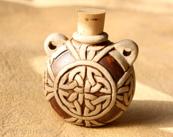 From 34.90 Euro: Ceramic Pendant Celtic Cross Bulbous Bottle with Cork Closure with Braided Ribbon Ornamentation Ceramic Jewelry Pilgrim Bottle