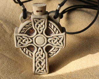 From 34.90 Euro: Ceramic pendant Celtic cross Bottle with cork closure for holy water Ceramic jewelry Pilgrim bottle consecrated water