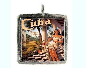 From 12.90 Euro: Pendant Viva la Cuba Caribbean Summer Cuba Rumba Necklace Caribbean Jewelry Exotic Beauty Palm Trees Paradise Necklace